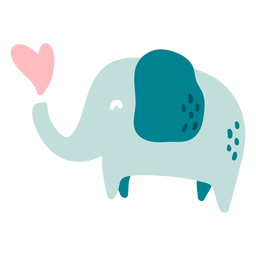 Cute happy blue elephant flat