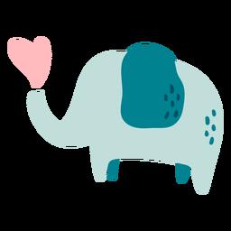 Lindo elefante azul feliz plano