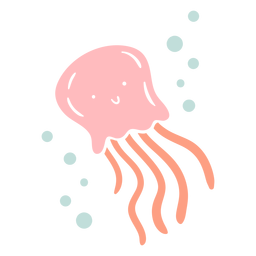 Cute happy jellyfish flat