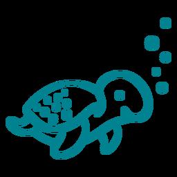 Golpe de tartaruga fofo e feliz