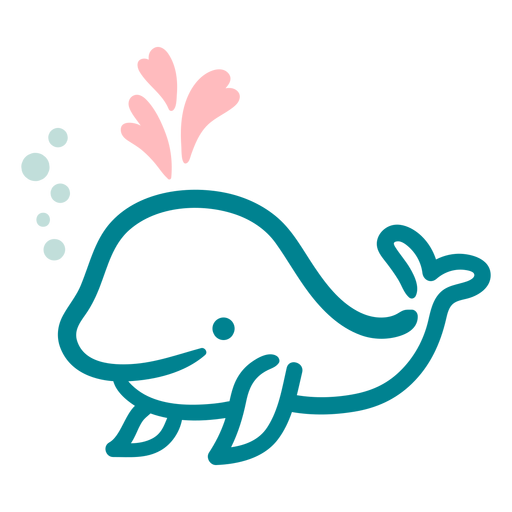 Cute happy whale flat