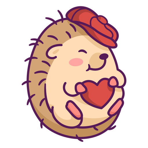 Cute hedgehog with hat illustration Transparent PNG