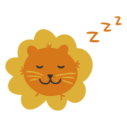 Cute lion sleeping flat