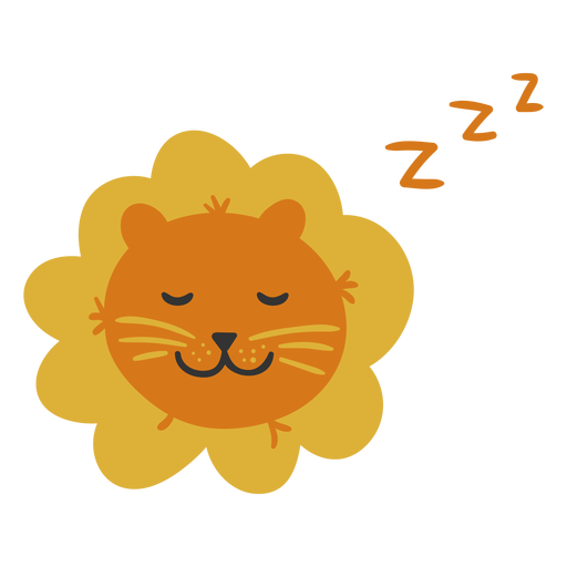 Cute lion sleeping flat