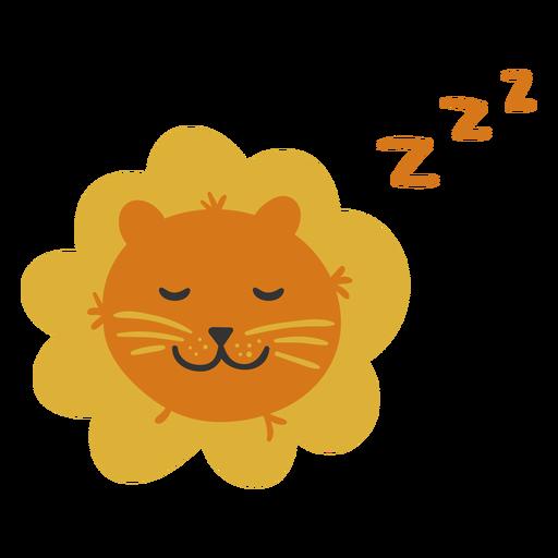 Lindo león durmiendo plano