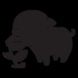 Lindo cerdo con flor negra