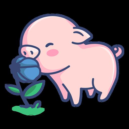 Cerdo lindo con ilustración de flor