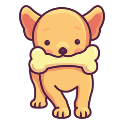 Cute puppy with bone illustration