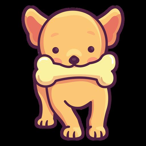 Cute puppy with bone illustration