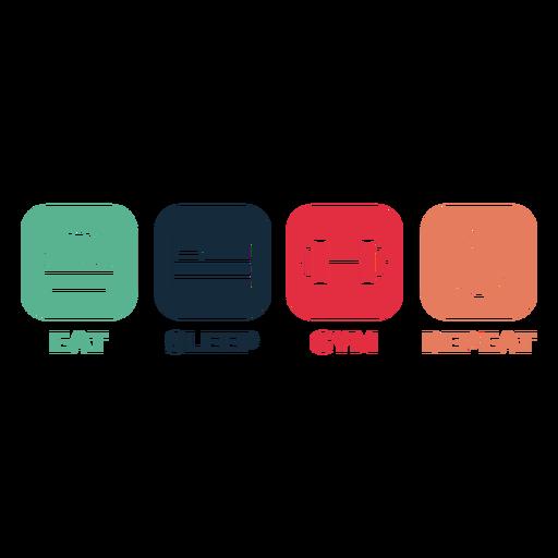 Distintivo de repetição de ginástica para comer dormir