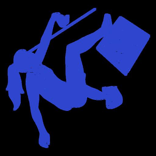 Alpinista feminina azul