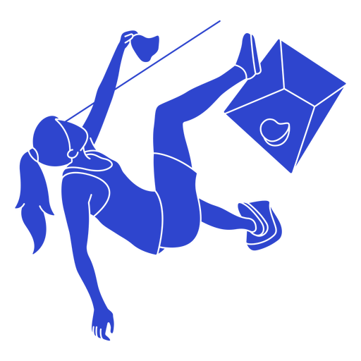 Female climber blue