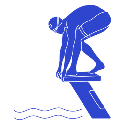 Female swimmer ready blue