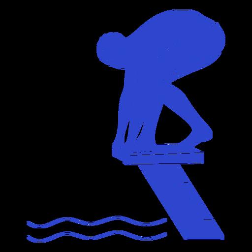 Female swimmer ready blue