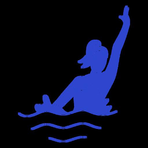 Female synchronized swimmer blue