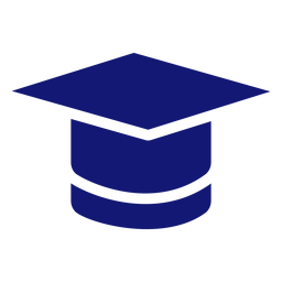 Graduation cap icon blue