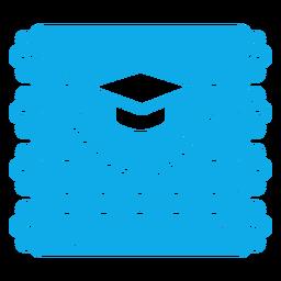 Chapéu de formatura com guirlanda de papel