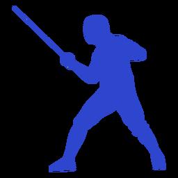 Esgrimista masculino azul