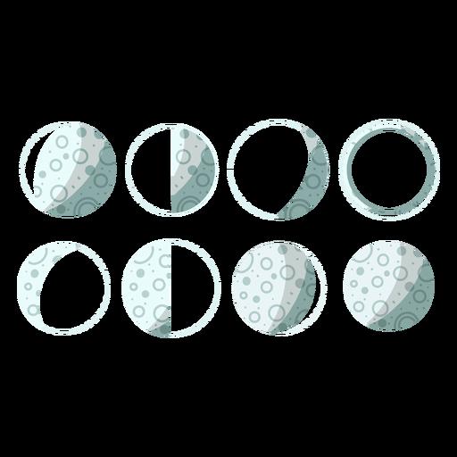 Ilustración de las fases de la luna