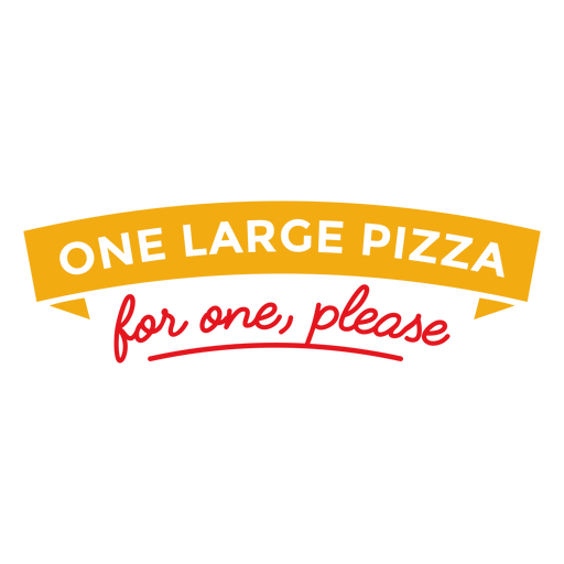 One large pizza for one lettering