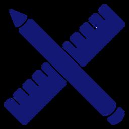 Icono de lápiz y regla azul
