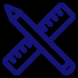 Trazo de icono de lápiz y regla