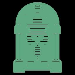Retro jukebox verde plano