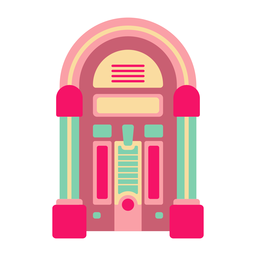 Retro jukebox flat sticker