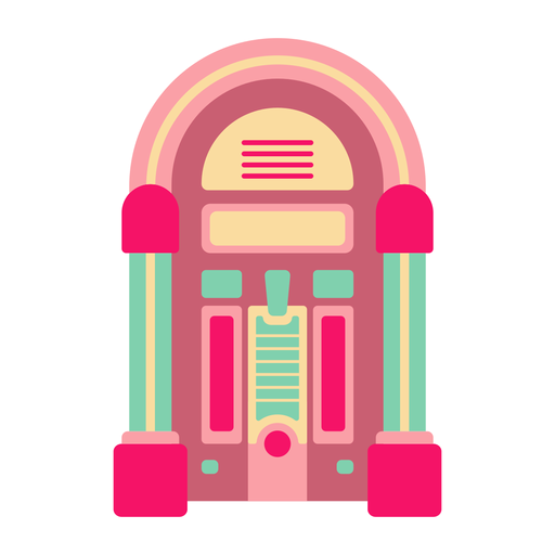 Retro jukebox flat sticker Transparent PNG