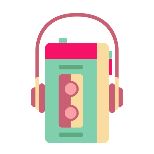 Pegatina plana walkman retro Transparent PNG