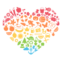Temporada coração colorido