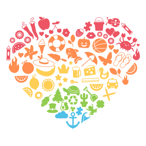 Season colorful heart Transparent PNG