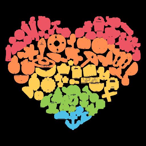 Temporada corazón colorido