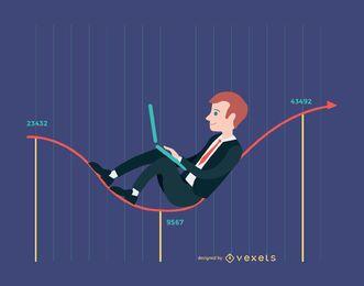 Empresário, trabalhando na linha do gráfico de moeda