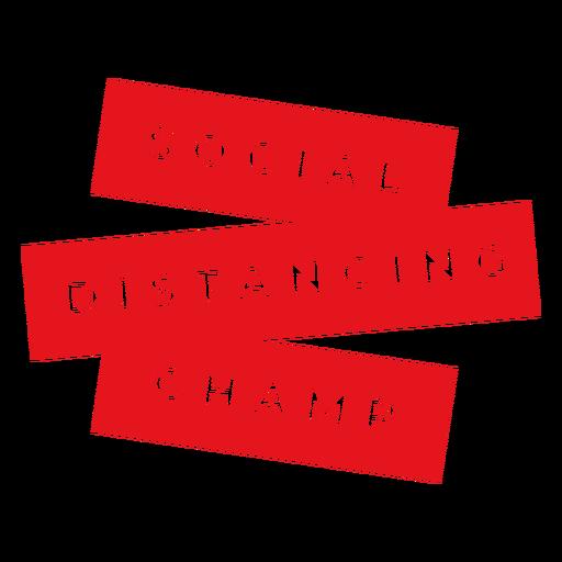 Social distancing champ badge Transparent PNG