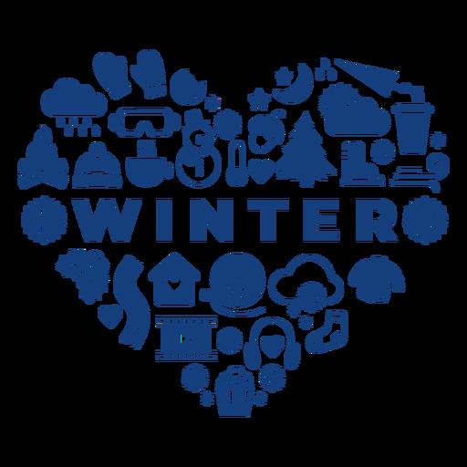 Winter season heart Transparent PNG