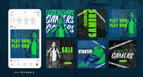 Pacote de banner social para jogadores de néon verde