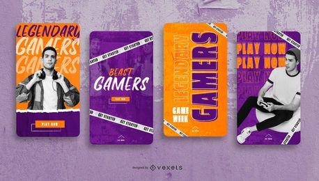 Pacote de design de histórias sociais para os melhores jogadores