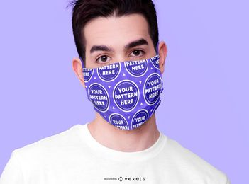 Man wearing face mask mockup
