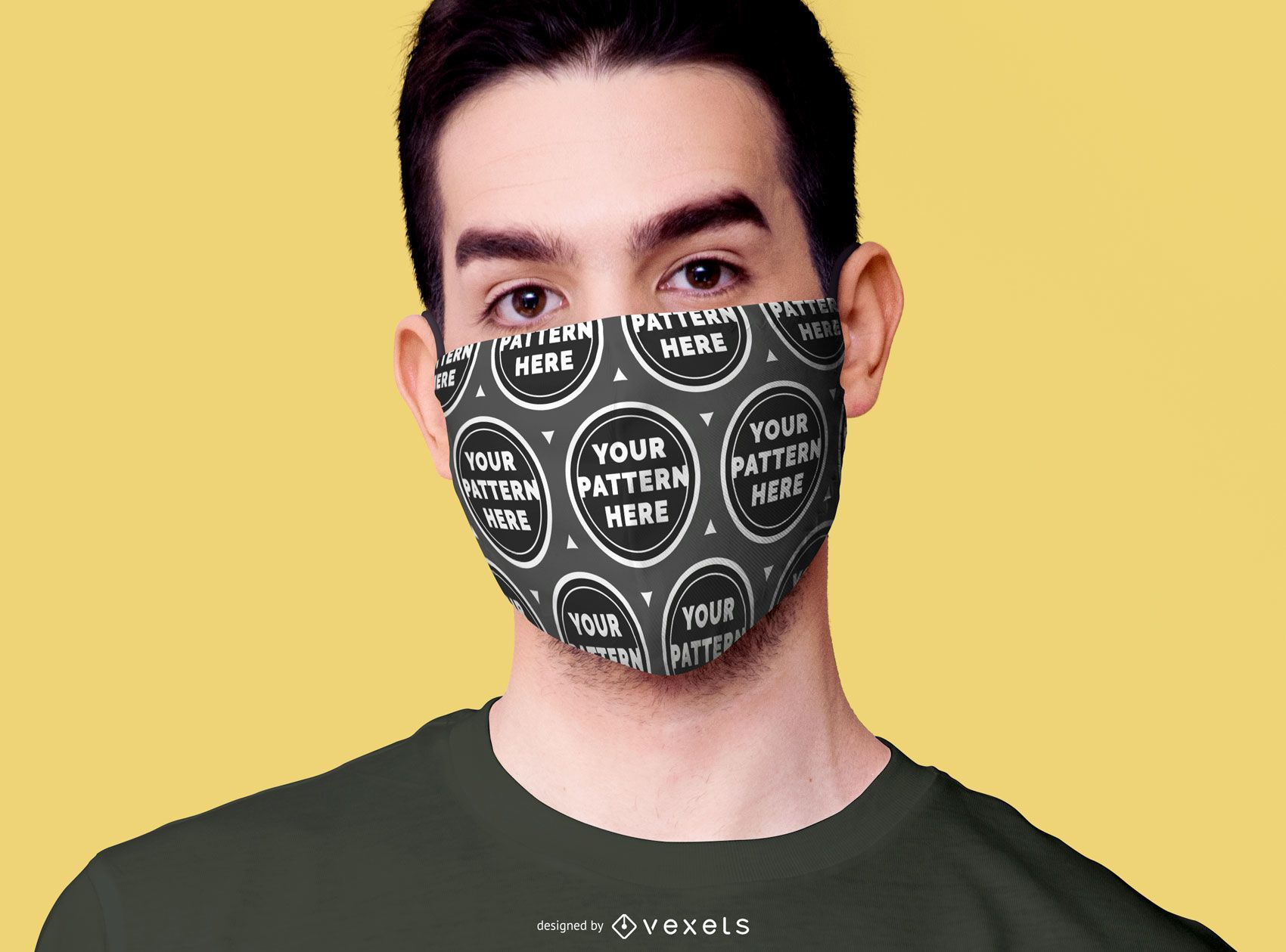 Male model wearing face mask mockup