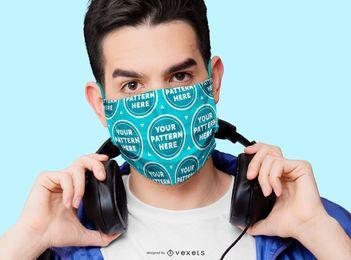 Homem com maquete de máscara facial