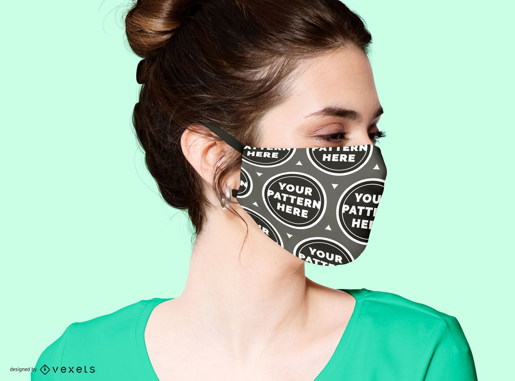 Model with face mask mockup