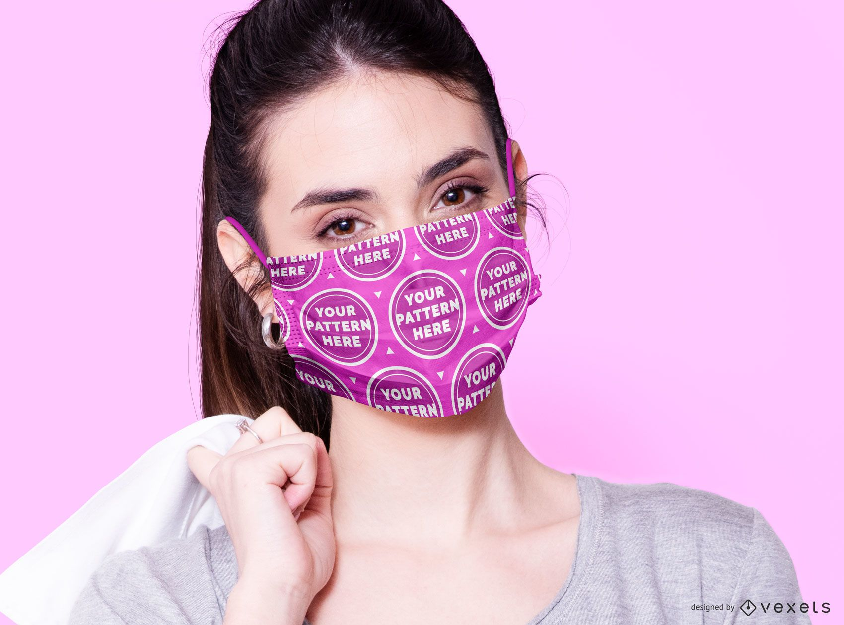 Woman with face mask mockup