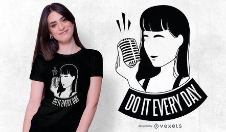 Diseño de camiseta de cita de cantante