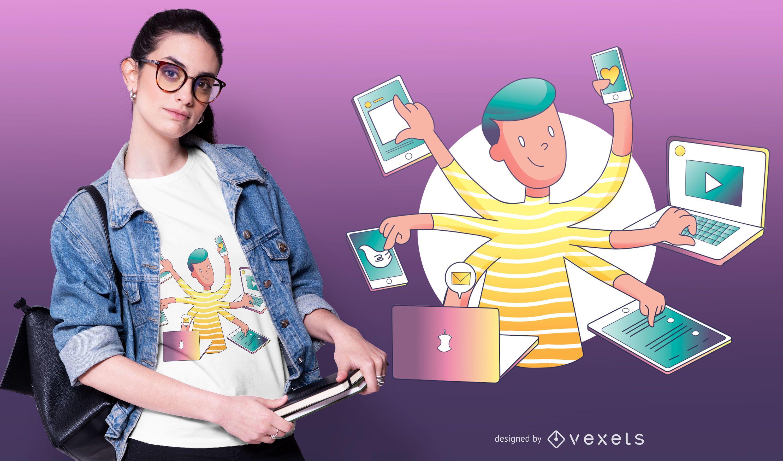Multitask Millennial T-shirt Design