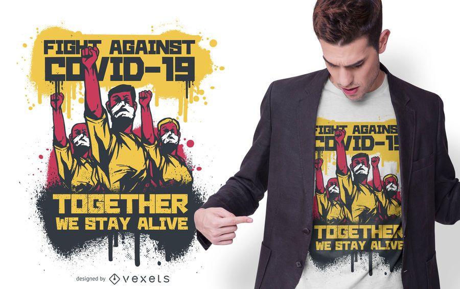 Luta contra o design do t-shirt COVID-19