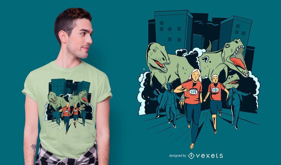 Design de camiseta de corrida T-rex