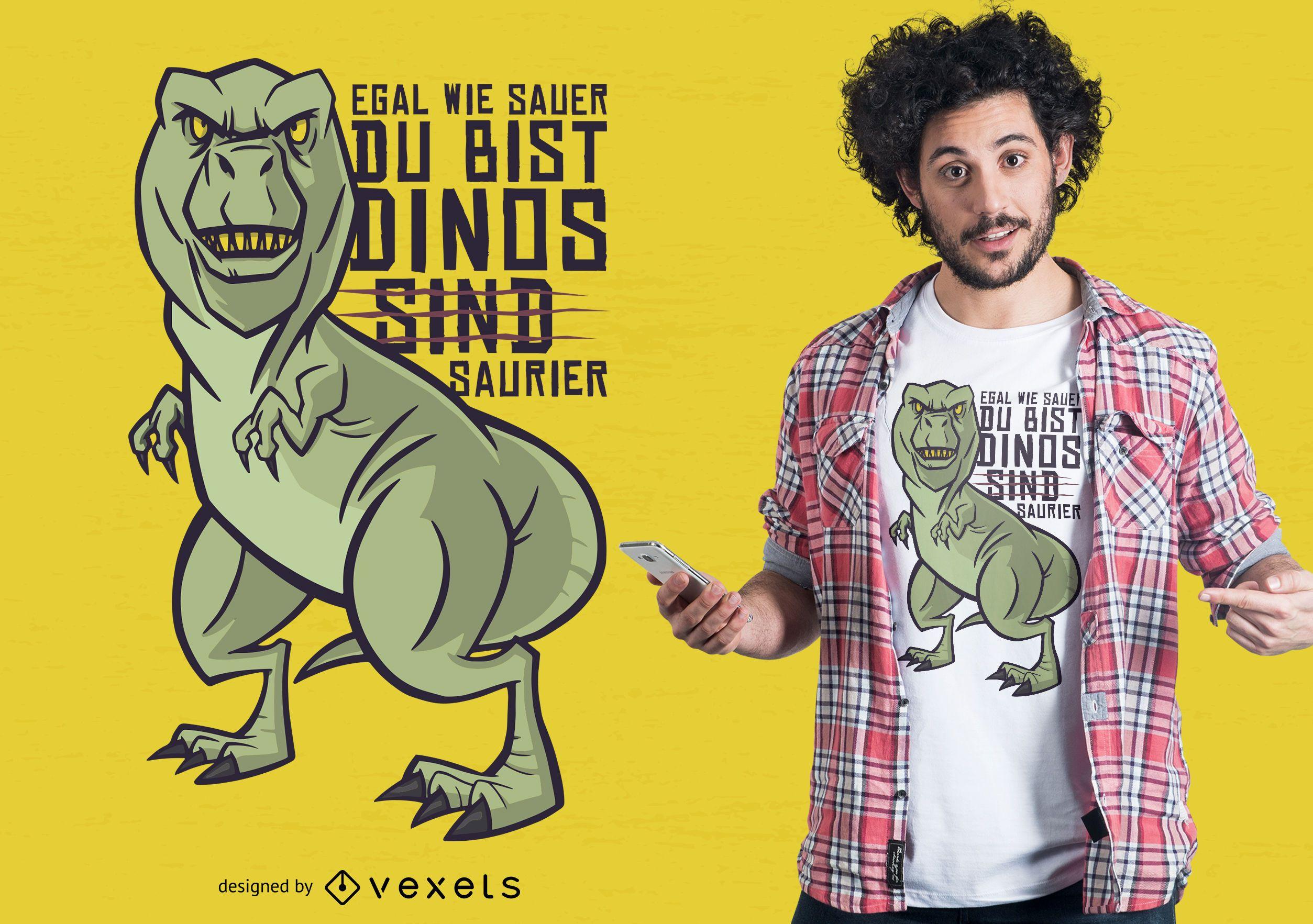 Diseño de camiseta de dinosaurio alemán broma