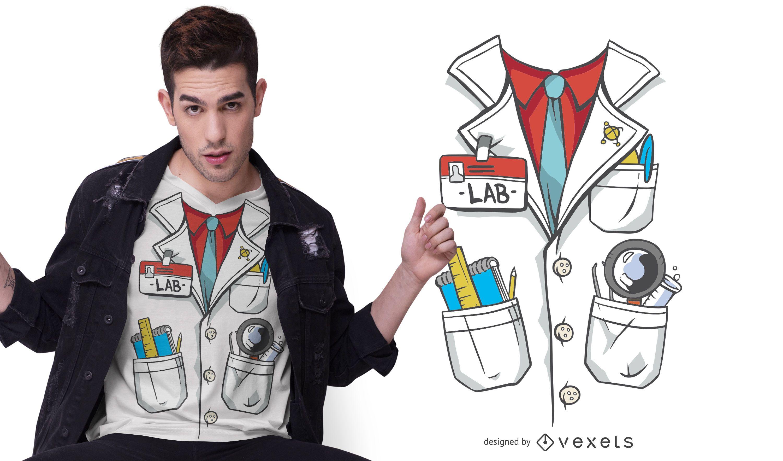 Diseño de camiseta de traje de bata de laboratorio