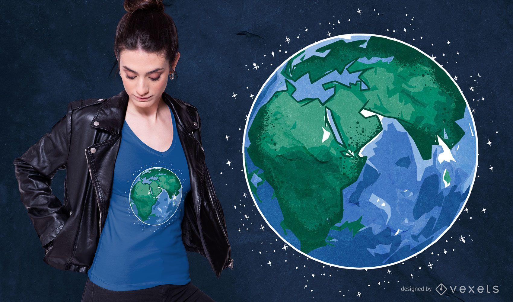 Earth Illustration T-shirt Design